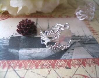 25pcs Silver Filigree Rings...Adjustable Rings...Ring Base 10mm...FRP