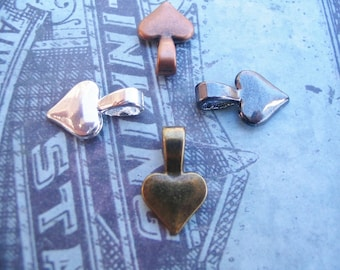 50 Heart Bails....Mix and Match...Gun Metal, Silver, Brass, and Copper