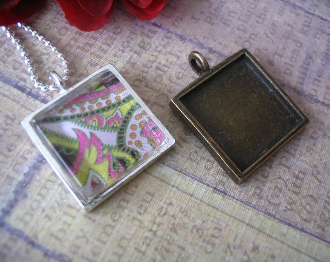 10pc... 16mm square bezel pendant trays...Mix and Match...Silver and Antique Brass