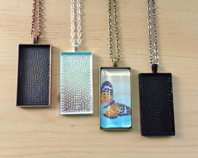 10 Rectangle Pendant Trays...Mix and Match...Size 25x50mm...Pendant Settings, Bezels, Blanks, CRPT