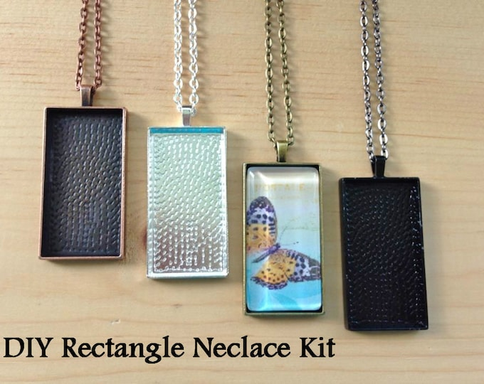 15pc...DIY Rectangle Pendant Tray Kit...25mmx50mm...Makes 15 Pendant Necklaces...Chains, Trays, and Glass Tiles...Mix and Match ...RPT
