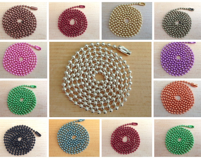 40pc..2.4mm Colored Ball Chains. Mix and Match any color. Great for pendants.