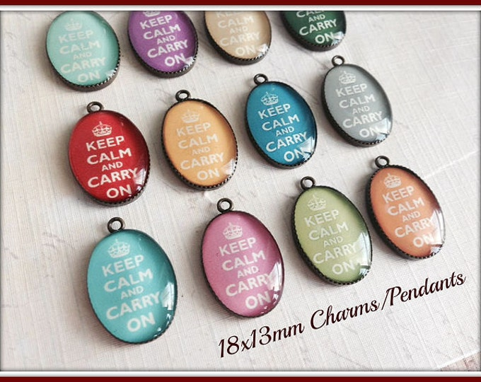 4pc... Pendants / Charms..18x13mm...Handmade...Keep Calm and Carry On..Pendants, Charms, Bezels