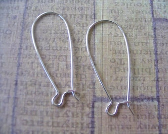 50pc Kidney Earwire..Sterling Silver Plated...Size 35x15mm...Earring Hooks, Earring Findings