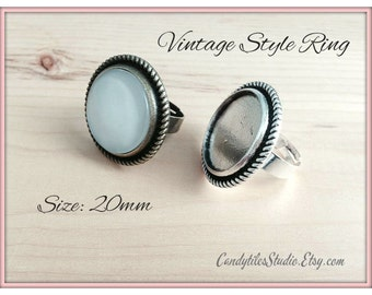 5pk...20mm...Vintage Style Adjustable Ring Trays...with glass inserts...Mix and Match..VSRT16