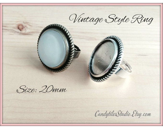 10pk...20mm...Vintage Style Adjustable Ring Trays...with glass inserts...Mix and Match..VSRT16