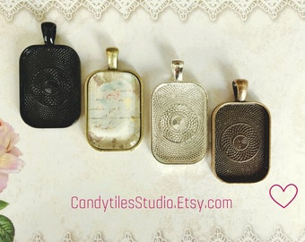 50pk...20x30mm Pendant Trays...with Glass Inserts, rectangle pendants, bezel, Mix and Match