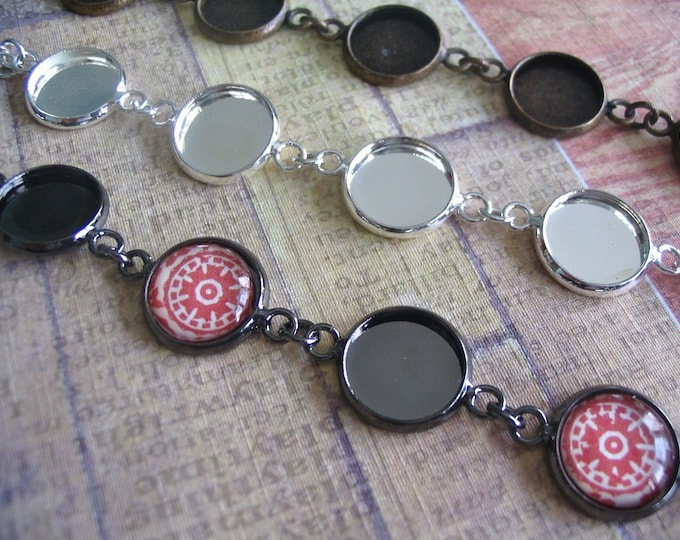 10pk Circle 12mm Bezel Bracelet Kit...with Glass Inserts... Mix and Match...Antique Brass and Silver