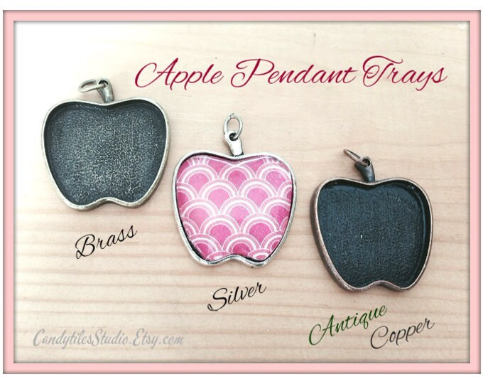 10pk...25mm Apple Pendant Trays....with glass inserts...MIX and MATCH..Bezel Trays, Pendant Settings...APT