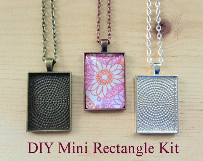 10pc..DIY Mini Rectangle Pendant Tray Necklace Kit..25x35mm...includes chains, glass Inserts,  trays..Mix and Match color trays.