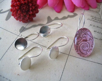 50 Silver Plated Earring Hook Pads.. Size 12mm...Great for adhering your glass and resin cabocons