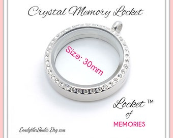 1pc...30mm...Crystal Floating Memory Stainless Steel Locket...Living Locket, Glass Locket, Floating Charms, Birthstones, Stamped Plates