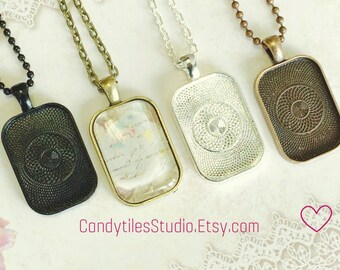 25pc..DIY Pendant Tray Necklace Kit...Size 20x30mm...pendant trays, includes chains, glass Inserts,  trays..Mix and Match color trays.