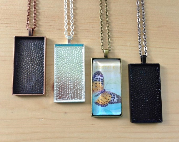 100 Rectangle Pendant Trays with Glass Inserts... Mix and Match Colors.... 25mmx50mm...RPT