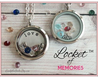 30mm....Floating Memory Stainless Steel Locket Necklace....Comes with Stamped Plate, Charm and Birthstones..Living Locket, Glass Loc