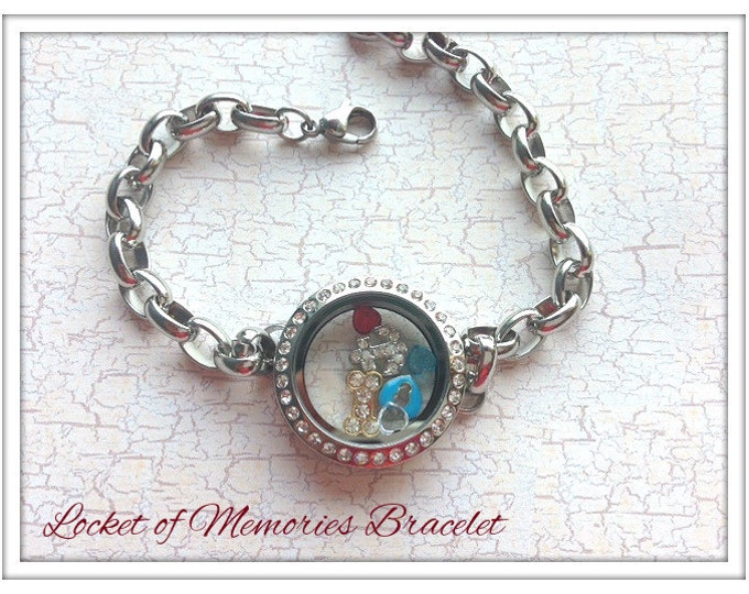 Floating Glass Bracelet Locket...Locket of Memories TM...Living Locket, Memory Locket, Floating Charms, Birthstones, Stamped Plates