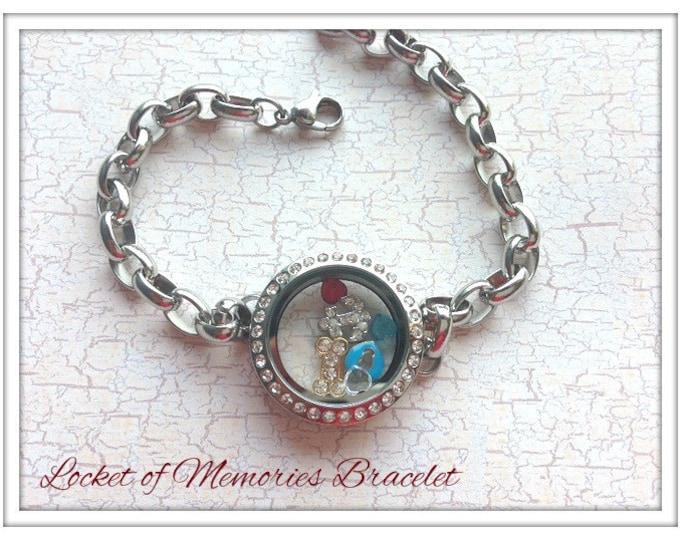 Custom Listing...Floating Bracelet Locket...comes with charms and birthstones...Locket of Memories... Glass Locket
