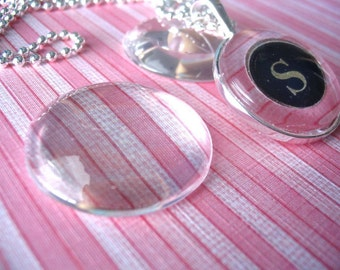 20pk...Circle Glass Tiles...Cabochons...30mm..Great for Pendant Trays and magnets