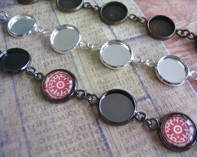 25pk Circle 12mm Bezel Bracelets...with glass inserts... Mix and Match...Antique Brass and Silver