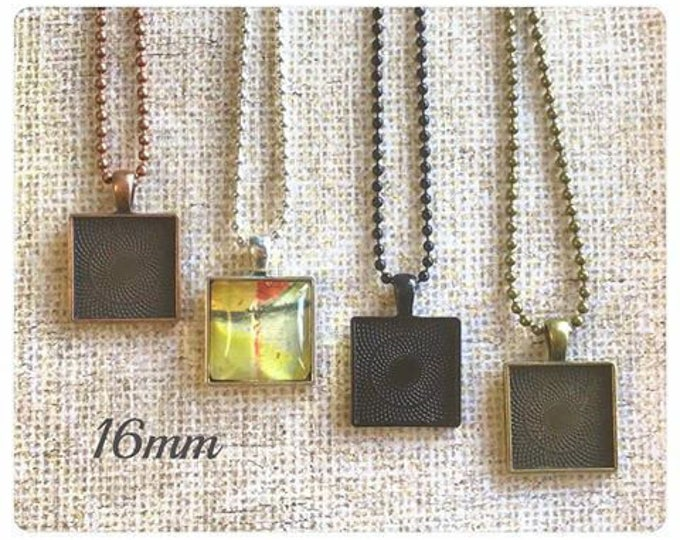 50pk..20mm Square Pendant Trays....Listing is for trays only...bezel, pendant trays, pendant
