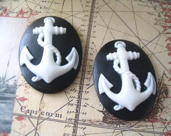 4pc Resin Anchor Cabochons....Size 30 x 40mm