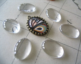 20pk...Size 18x25mm...Oval Glass Tile Cabochon......Great for pendants or earrings.
