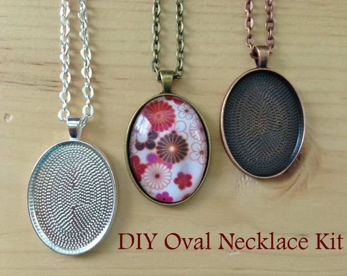 5pc..DIY Oval Pendant Tray Necklace Kit... 22x30mm...includes chains, glass Inserts,  trays..Mix and Match color trays.