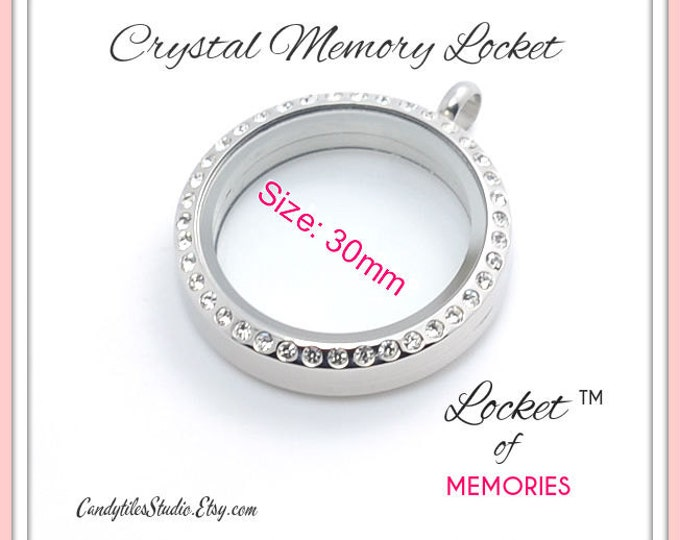 10pk...30mm..Crystal Floating Memory Stainless Steel Locket..Living Locket, Floating Charms, Birthstones, Stamped Plates
