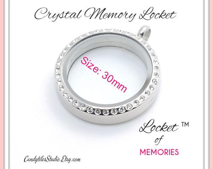 5pk...30mm..Crystal Floating Memory Stainless Steel Locket....Living Locket, Glass Locket, Floating Charms, Birthstones, Stamped Plates