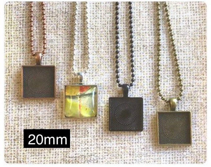 20pk...20mm Square Pendant Trays...with glass inserts...bezel, pendant trays, pendant setting