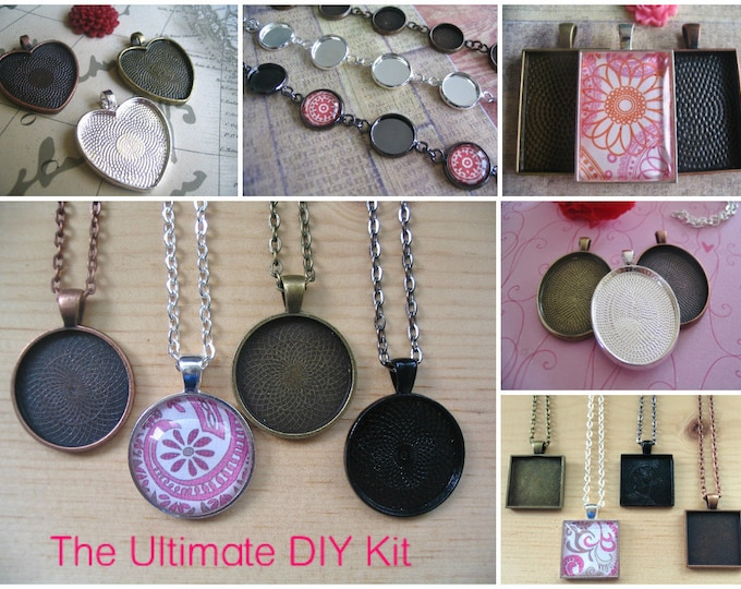 30pc...Starter DIY Kit....30 Piece Pendant Trays and Bracelet Kit...Mix and Match Colors..Bezels, Chains, and Glass.
