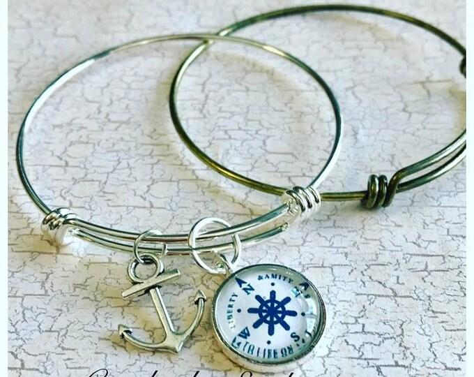 2pk...Silver Finish Brass Adjustable Bangle Bracelet...65mm..High Quality triple loop durable bracelet