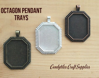 10pc Octagon Pendant Trays...Size 22x30mm...Mix and Match