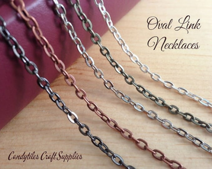 100 Oval Link Chain Necklaces....Mix and Match your colors...OLC24
