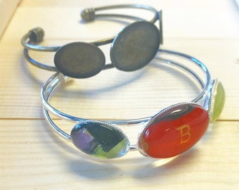 1pc Bezel Bangle Bracelet with Glass Inserts...Mix and Match...Antique Brass and Silver