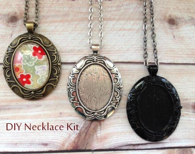 25pc..DIY Vintage Style Oval Necklace Kit...Inside diameter 22x30mm....Pendant Trays