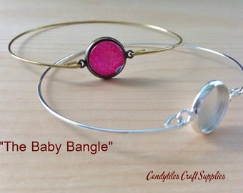 50pc...The Baby Bangle... 12mm Bezel Bangle Bracelet...Glass Tiles Cabochons included