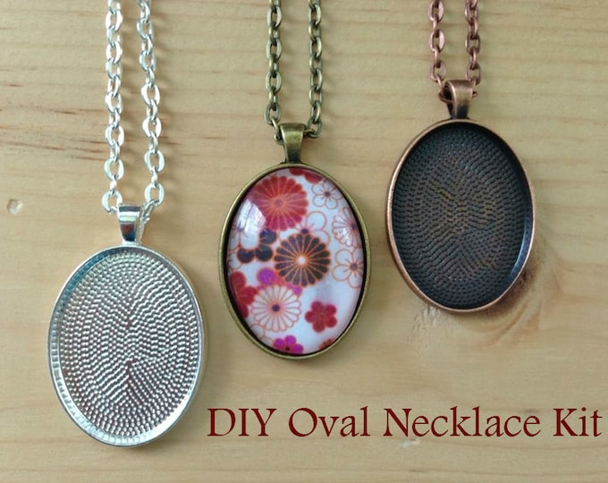 10pc..DIY Oval Pendant Tray Necklace Kit..Size 22x30...includes chains, glass Inserts,  trays..GLass tiles for pendants