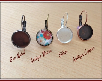 10pk..12mm Earring Trays with Glass Inserts... Make matching earrings to go with your pendants