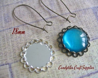 25pc.18mm Circle Bezel trays...With Glass Inserts...Silver and Antique Brass, Pendant Trays