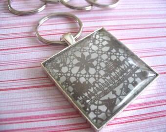 10pk Key Chain Pendant Kit...10 Key Rings...10 Pendant Trays...10 Glass Cabochons...Size 35mm