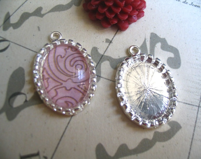 10pk...18x13mm Silver Pendant Trays with Glass Tiles ...Great for earrings or pendants...18X13S
