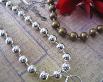 1pc.. Large 6mm Ball Chains...Mix and Match...Silver and Antique Brass...BC6