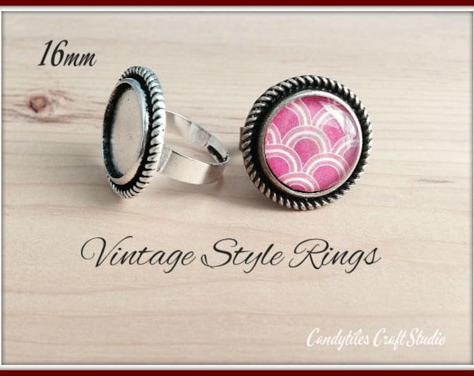 5pk...Vintage Style Adjustable Ring Trays...16mm..Mix and Match..VSRT16