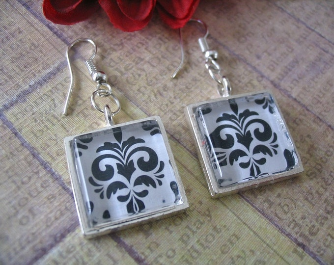 10 Pairs... Silver Earring Tray Combo Pack....Glass Inserts, Earwire, Jumprings, and Trays Included...16mm