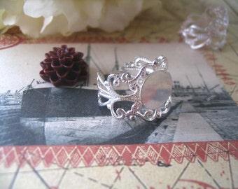 25pcs Silver Filigree Rings...Adjustable Rings...Ring Base 10mm..FRP