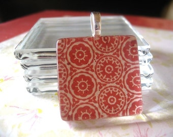 5pk...Combo..Glass Tiles and Bails...5pk..1 inchCrystal Clear Glass Tiles and 5pk..Silver Plated Bails