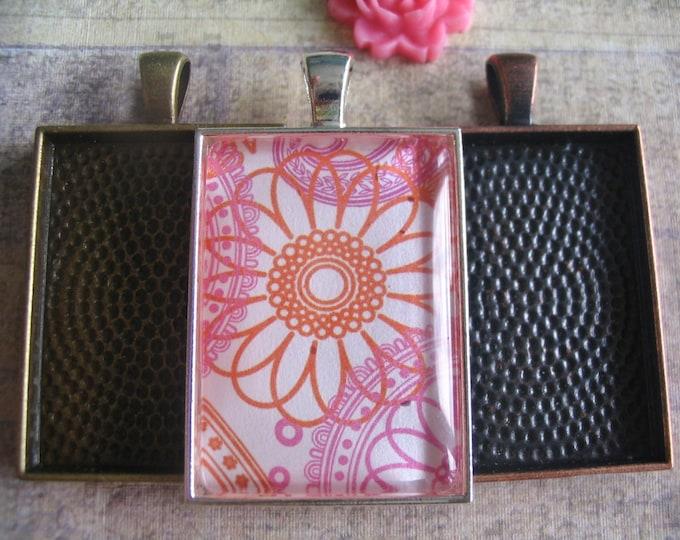 10pk..Medium Rectangle Pendant Trays...25x35mm..Mix and Match Colors...Settings, Bezels, Keychains.