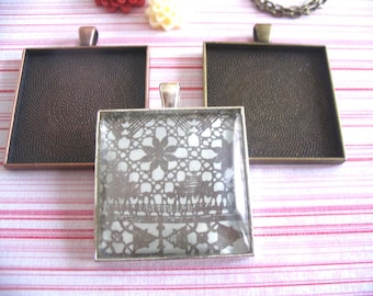 10pk..35mm Square Trays ....Mix and Match Colors...Antique Brass, Copper and Silver