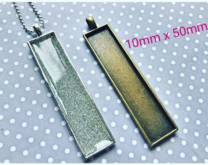 20pc...10x50mm Rectangle Bezel Pendant Tray...Comes in Brass, Copper and Silver
